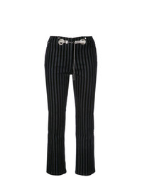 Pantalones pitillo de terciopelo de rayas verticales negros de Miaou