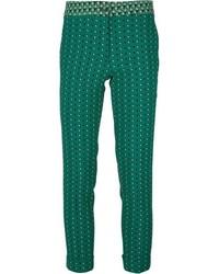 Pantalones pitillo estampados verde oscuro