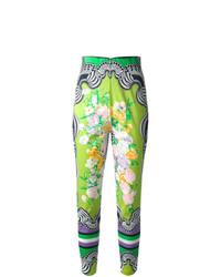Pantalones pitillo estampados verdes de Versace Vintage
