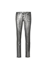 Pantalones pitillo plateados de Philipp Plein