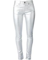 Pantalones pitillo plateados de Saint Laurent
