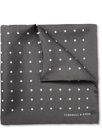 Pañuelo de bolsillo a lunares en gris oscuro