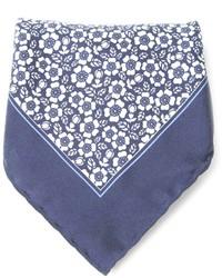 Pañuelo de bolsillo con print de flores azul de Canali