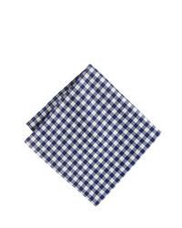 Pañuelo de bolsillo de cuadro vichy en blanco y azul marino