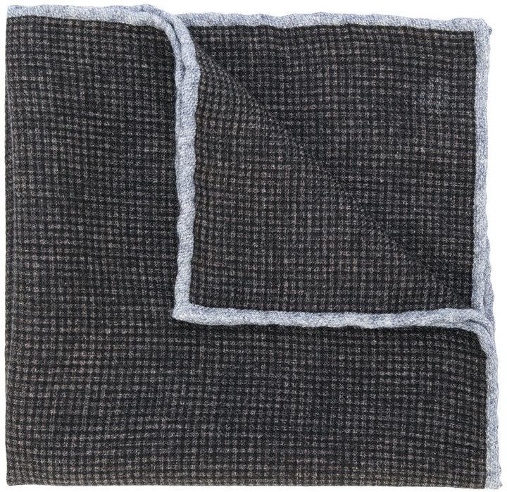 Pañuelo de bolsillo de lana a cuadros en marrón oscuro de Eleventy