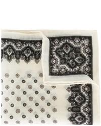 Pañuelo de bolsillo de lana con print de flores blanco de Canali