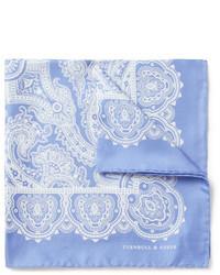 Pañuelo de bolsillo de paisley celeste