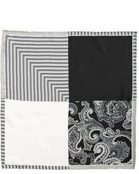 Pañuelo de bolsillo de paisley en negro y blanco