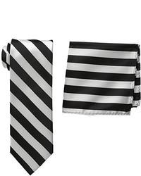 Pañuelo de bolsillo de rayas verticales en blanco y negro de Stacy Adams