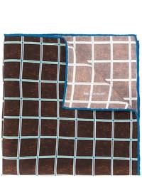 Pañuelo de bolsillo de seda a cuadros en marrón oscuro de Kiton