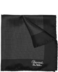 Pañuelo de bolsillo de seda a lunares en negro y blanco