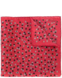 Pañuelo de bolsillo de seda a lunares rojo de Lanvin