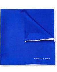 Pañuelo de bolsillo de seda azul