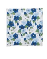 Pañuelo de bolsillo de seda con print de flores celeste