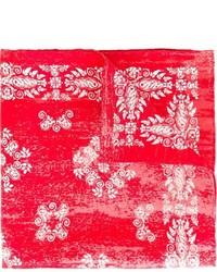 Pañuelo de bolsillo de seda con print de flores rojo de Kiton