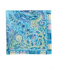 Pañuelo de bolsillo de seda de paisley azul