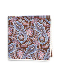 Pañuelo de bolsillo de seda de paisley marrón