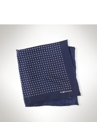 Pañuelo de bolsillo de seda en azul marino y blanco