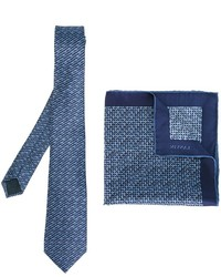 Pañuelo de bolsillo de seda estampado azul de Lanvin