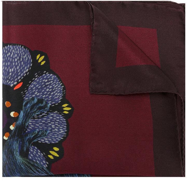 Pañuelo de bolsillo de seda estampado burdeos de Paul Smith
