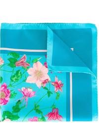 Pañuelo de bolsillo de seda estampado en turquesa de Kiton