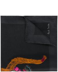 Pañuelo de bolsillo de seda estampado negro de Paul Smith