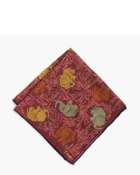 Pañuelo de bolsillo de seda estampado rojo