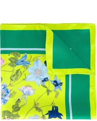 Pañuelo de bolsillo de seda estampado verde de Kiton