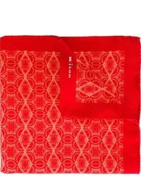 Pañuelo de bolsillo de seda rojo de Kiton