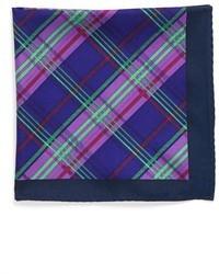 Pañuelo de bolsillo de tartán azul marino
