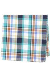 Pañuelo de bolsillo de tartán en blanco y azul
