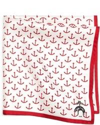 Pañuelo de bolsillo en blanco y rojo