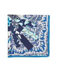Pañuelo de bolsillo estampado en blanco y azul marino
