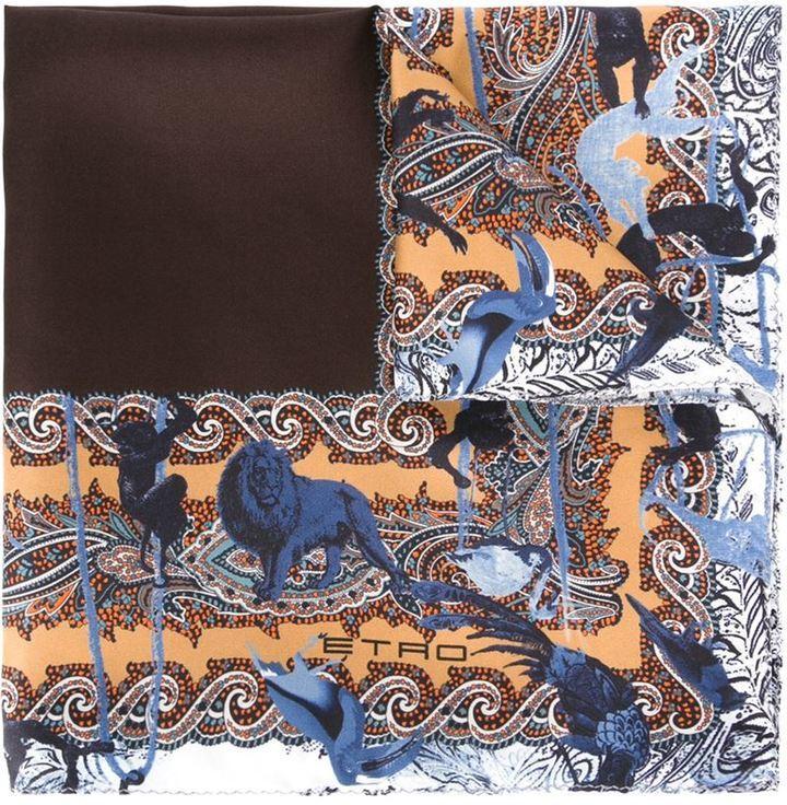Pañuelo de bolsillo estampado marrón de Etro