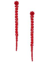 Pendientes con cuentas con print de flores rojos de Simone Rocha
