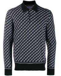 Polo de manga larga con estampado geométrico negro de Prada