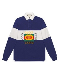 Polo de manga larga de rayas horizontales en azul marino y blanco de Gucci