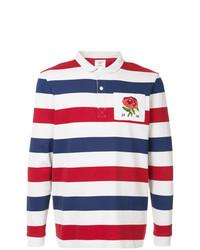 Polo de manga larga de rayas horizontales en blanco y rojo y azul marino de Kent & Curwen