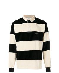 Polo de manga larga de rayas horizontales en negro y blanco de Drôle De Monsieur