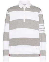 Polo de manga larga de rayas horizontales gris de Thom Browne