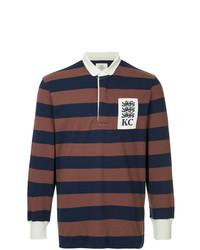 Polo de manga larga de rayas horizontales marrón de Kent & Curwen
