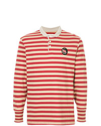 Polo de manga larga de rayas horizontales rojo de Kent & Curwen