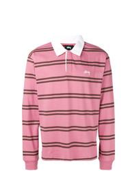 Polo de manga larga de rayas horizontales rosado de Stussy