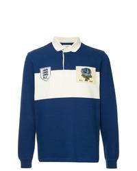 Polo de manga larga en blanco y azul de Kent & Curwen