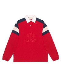 Polo de manga larga estampado rojo de Gucci