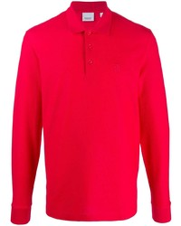 Polo de manga larga rojo de Burberry