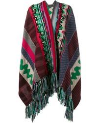 Poncho de lana de patchwork en verde azulado de Etro