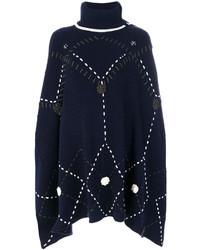 Poncho de lana de punto azul marino de Michel Klein
