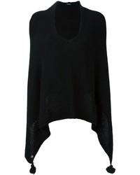 Poncho de Lana de Punto Negro de Twin-Set
