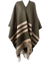 Poncho de lana de rayas horizontales verde oliva de Dsquared2